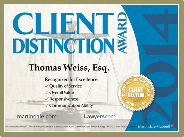 Thomas Weiss & Associates, P.C. awarded Client Distinction Award – Lawyers.com – Martindale.com